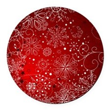 SNOWFLAKES (RED) Round Car Magnet
