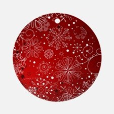 SNOWFLAKES (RED) Round Ornament