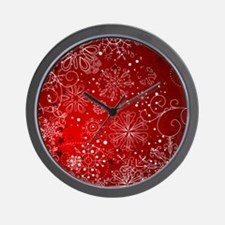 SNOWFLAKES (RED) Wall Clock