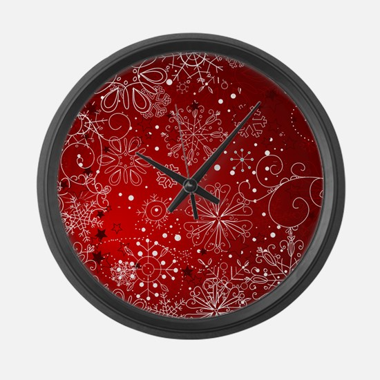 SNOWFLAKES (RED) Large Wall Clock
