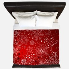 SNOWFLAKES (RED) King Duvet