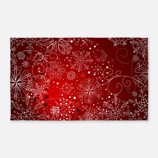 SNOWFLAKES (RED) Area Rug