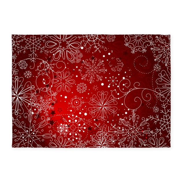 Snowflakes Red 5 X7 Area Rug By Christmasmorning