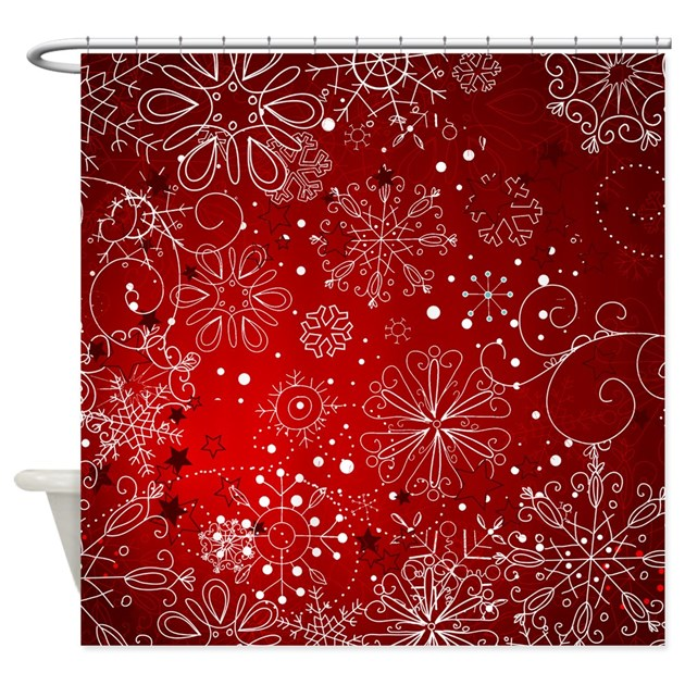 SNOWFLAKES RED Shower Curtain By ChristmasMorning