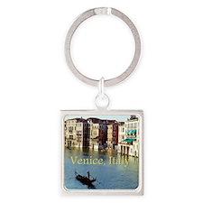 Venice Italy Souvenir Gondola Ride Square Keychain