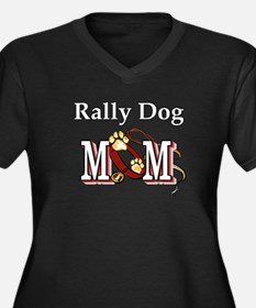 Rally Dog Mom Women's Plus Size V-Neck Dark T-Shir