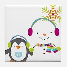 Cute Snowman and Penquin Tile Coaster