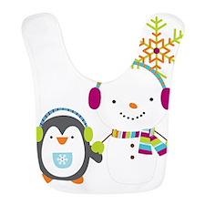Cute Snowman and Penquin Bib