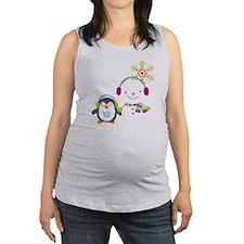Cute Snowman and Penquin Maternity Tank Top