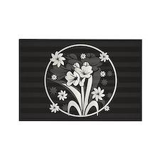Modern Gray sides floral design Magnets