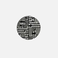 Binary in Black White Mini Button (10 pack)