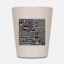 Binary in Black White Shot Glass
