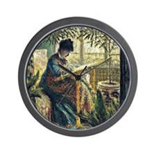 Monet: Madame Monet Embroidering, famou Wall Clock