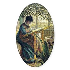 Monet: Madame Monet Embroidering, f Decal