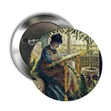 "Monet: Madame Monet Embroidering, fam 2.25"" Button"