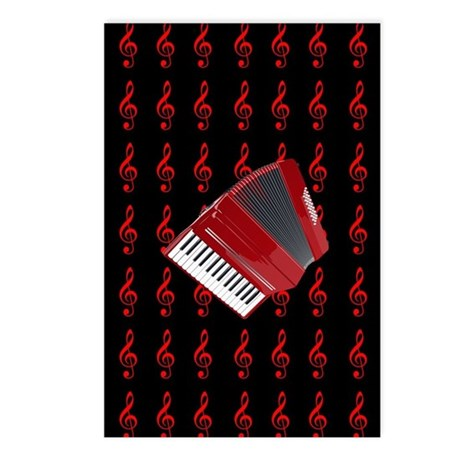 Red Accordion, Red Treble Postcards (Package of 8)