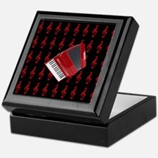 Red Accordion, Red Treble Clef Keepsake Box