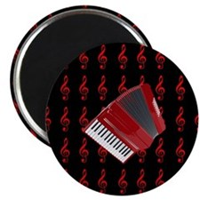 Red Accordion, Red Treble Clef Magnet