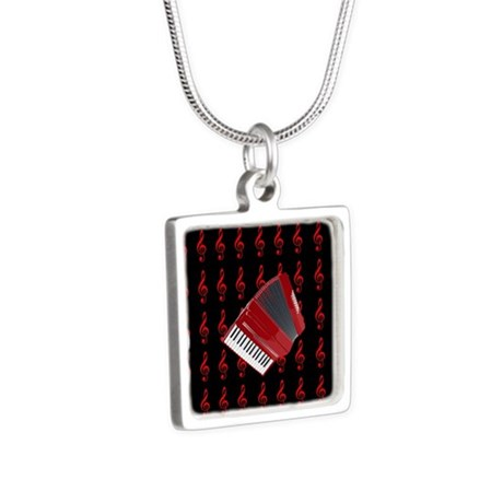 Red Accordion, Red Treble Silver Square Necklace