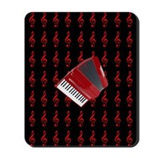 Red Accordion, Red Treble Clef Mousepad