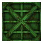 Rusty Shipping Container - green Square Car Magnet