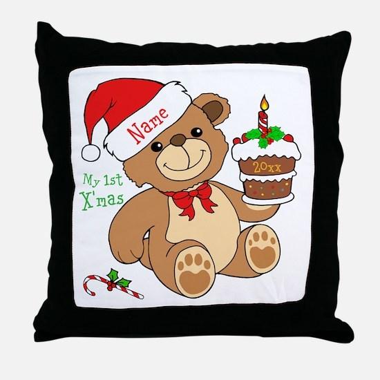 My 1st Christmas Throw Pillow