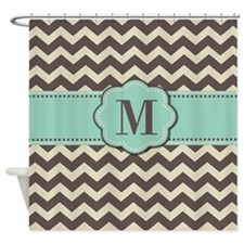 Brown Mint Monogram Shower Curtain