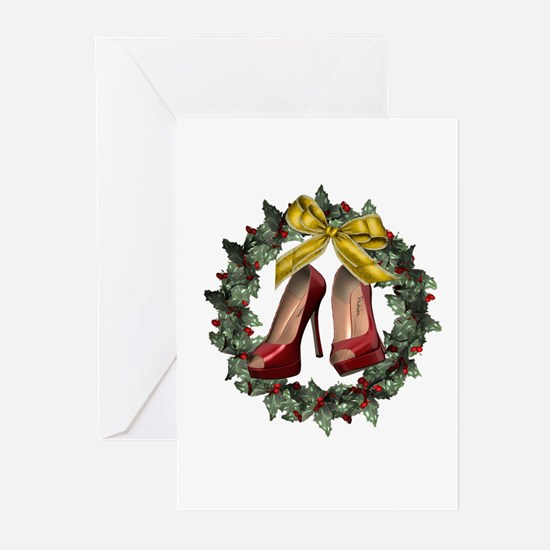 Red Stiletto Shoe Holiday Wreath Cards 20 Pk
