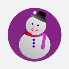 Purple Snowman Ornament (round)