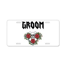 Groom Skull Aluminum License Plate