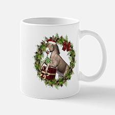 Donkey Santa Hat Inside Wreath Mugs