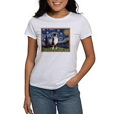 Starry Night and Australian Shepherd T-Shirt