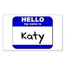 hello my name is katy Rectangle Decal