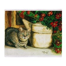 Cat with Watering Can Throw Blanket