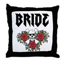 Black Bride Skull Throw Pillow