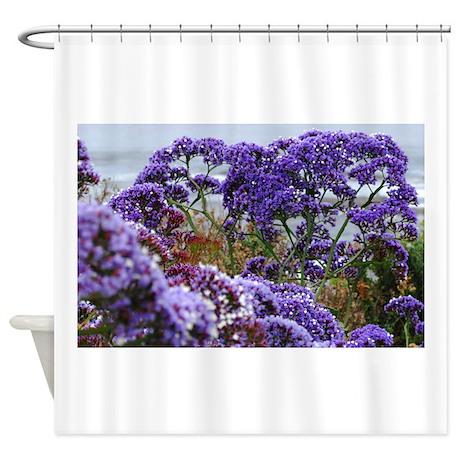 purple flowers shower curtain by suehickeart