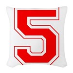 5 red.png Woven Throw Pillow
