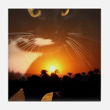egyptian cat god Tile Coaster