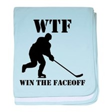WTF Win The Faceoff baby blanket