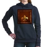 Old Leather with gold Fleur-de-Lys Hooded Sweatshi