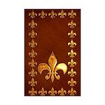Old Leather with gold Fleur-de-Lys Mini Poster Pri