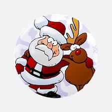 """Santa, Rudolph Christmas 3.5"""" Button"""