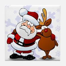 Santa, Rudolph Christmas Tile Coaster
