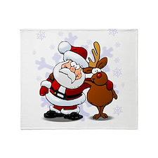 Santa, Rudolph Christmas Throw Blanket