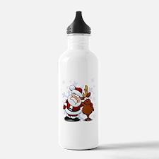 Santa, Rudolph Christmas Water Bottle