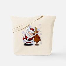 Santa, Rudolph Christmas Tote Bag