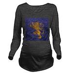 Rampant Lion - gold on blue Long Sleeve Maternity