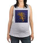 Rampant Lion - gold on blue Maternity Tank Top