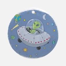 AlieninUFOcartoon.png Ornament (Round)