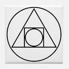 Square Triangle Circle Geometric Tile Coaster